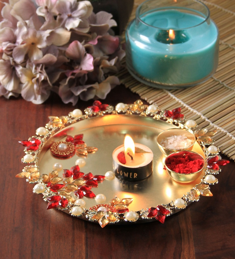 Multicolour Metal Puja Thali by Anisha Creatives