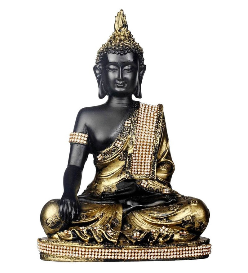 Anitique Black Polyresin Meditating Buddha Sculpture by Forever