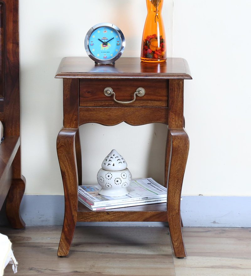 Anne Bed Side Table in Provincial Teak Finish by Amberville