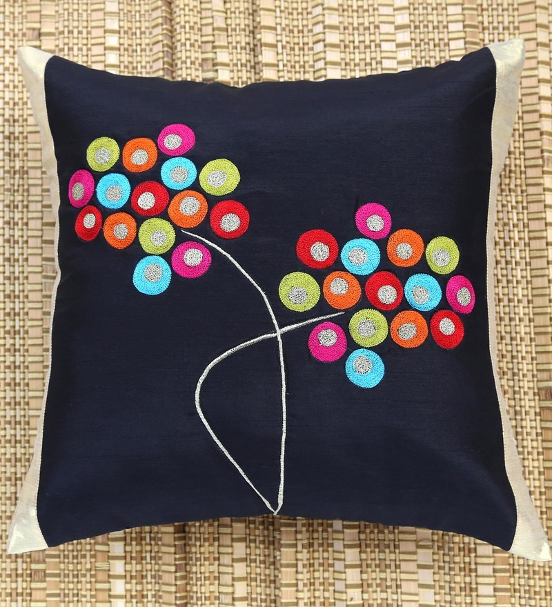 Black Polyester 16 x 16 Inch Circles Bunch Embroidered Cushion Cover by ANS