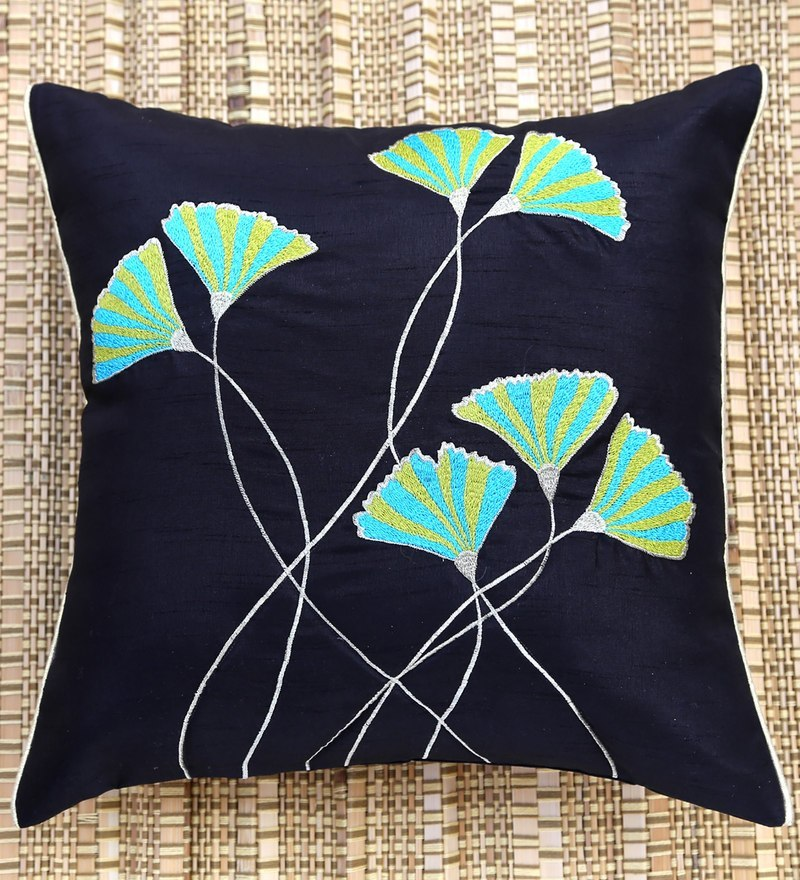 Black Polyester 16 x 16 Inch Elegant Embroidered Cushion Cover by ANS