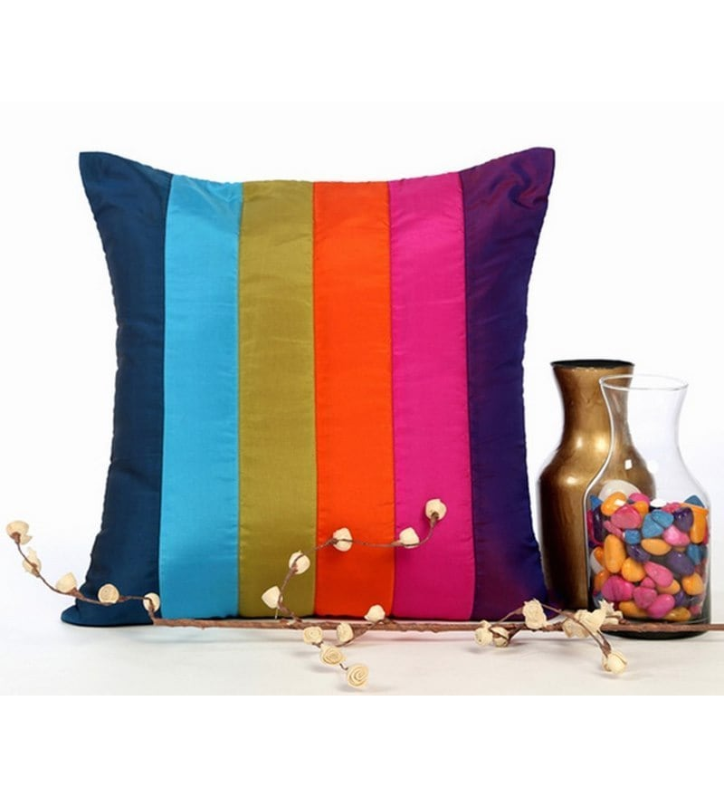 Multicolor Poly Silk 16 x 16 Inch Cushion Cover by ANS