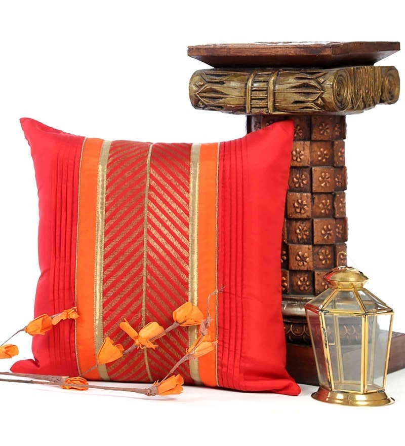 Red Poly Silk 16 x 16 Inch Striped Brocade Cushion Cover by ANS