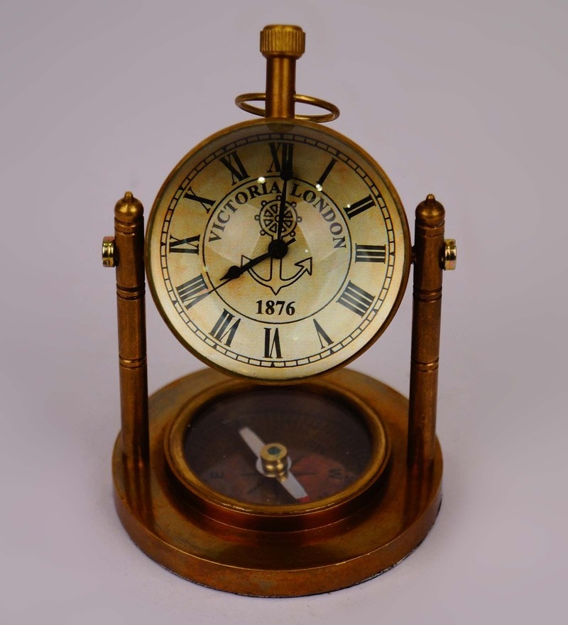 Click to Zoom In/Out - Buy Antique Finish Brass Table Clock By Tu Casa Online - Vintage And