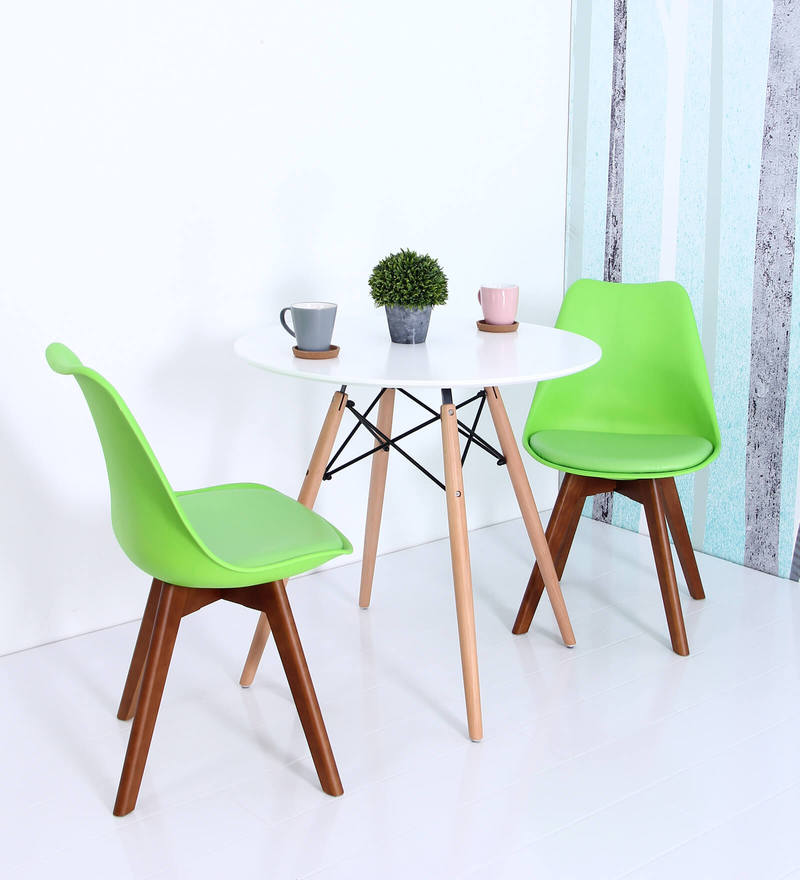 Anzu Accent DSW Eames Replica Plastic Chair (Set of 2) in Green Colour by Mintwud
