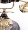 Black Brass Round Hand Carved Retro Telephone by Anantaran