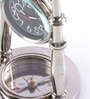 Anantaran Silver Brass Unique Table Clock with Compass