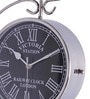 Anantaran Silver Steel Victoria Station Clock Two Side Wall Clock