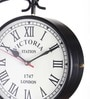 Black Iron 8 Inch Vintage Double Sided Station Wall Clock by Anantaran
