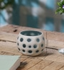 Black & White Glass Small Dotted Porcelain Votive Tea Light Holder by Anasa