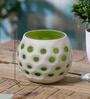 Green & White Glass Dotted Votive Tea Light Holder by Anasa