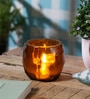 Orange Glass Diamond Head Cut Votive Tea Light Holder by Anasa