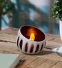 Red & White Glass Votive Tea Light Holder by Anasa