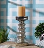 Silver Glass Small Candle Stand by Anasa