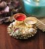 Anisha Creatives Multicolour Metal Haldi Kum Kum Stand