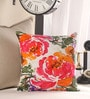 Anna Simona Multicolour Cotton 16 x 16 Inch Floral Printed with Fine Bead Work Cushion Cover