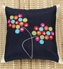 ANS Black Polyester 16 x 16 Inch Circles Bunch Embroidered Cushion Cover