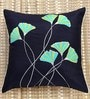 ANS Black Polyester 16 x 16 Inch Elegant Embroidered Cushion Cover