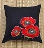 ANS Black Polyester 16 x 16 Inch Exquisite Embroidered Cushion Cover