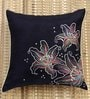 Black Polyester 16 x 16 Inch Floral Embroidered Cushion Cover by ANS