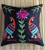 ANS Black Polyester 16 x 16 Inch Tribal Bird Embroidered Cushion Cover