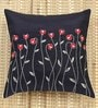 ANS Black Polyester 16 x 16 Inch Waving Flower Embroidered Cushion Cover
