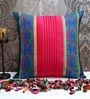 Blue & Pink Poly Silk 16 x 16 Inch Cushion Cover by ANS