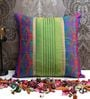 Green Poly Silk 16 x 16 Inch Cushion Cover by ANS