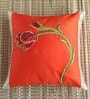Orange Polyester 16 x 16 Inch Tulip Embroidered Cushion Cover by ANS