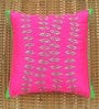 Pink Polyester 16 x 16 Inch Flower Strands Embroidered Cushion Cover by ANS