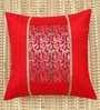 Red Poly Silk 16 x 16 Inch Cushion Cover by ANS