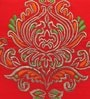 Red Polyester 16 x 16 Inch Ornamental Big Embroidered Cushion Cover by ANS