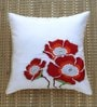 White Polyester 16 x 16 Inch Exquisite Embroidered Cushion Cover by ANS