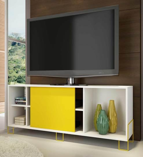 Buy Furniture Cabinetry Entertainment Units Contemporary TV Consoles Aoko TV Unit in Yellow & White Finish by Mintwud