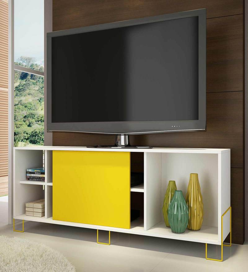Aoko Entertainment Unit in Yellow & White Finish by Mintwud