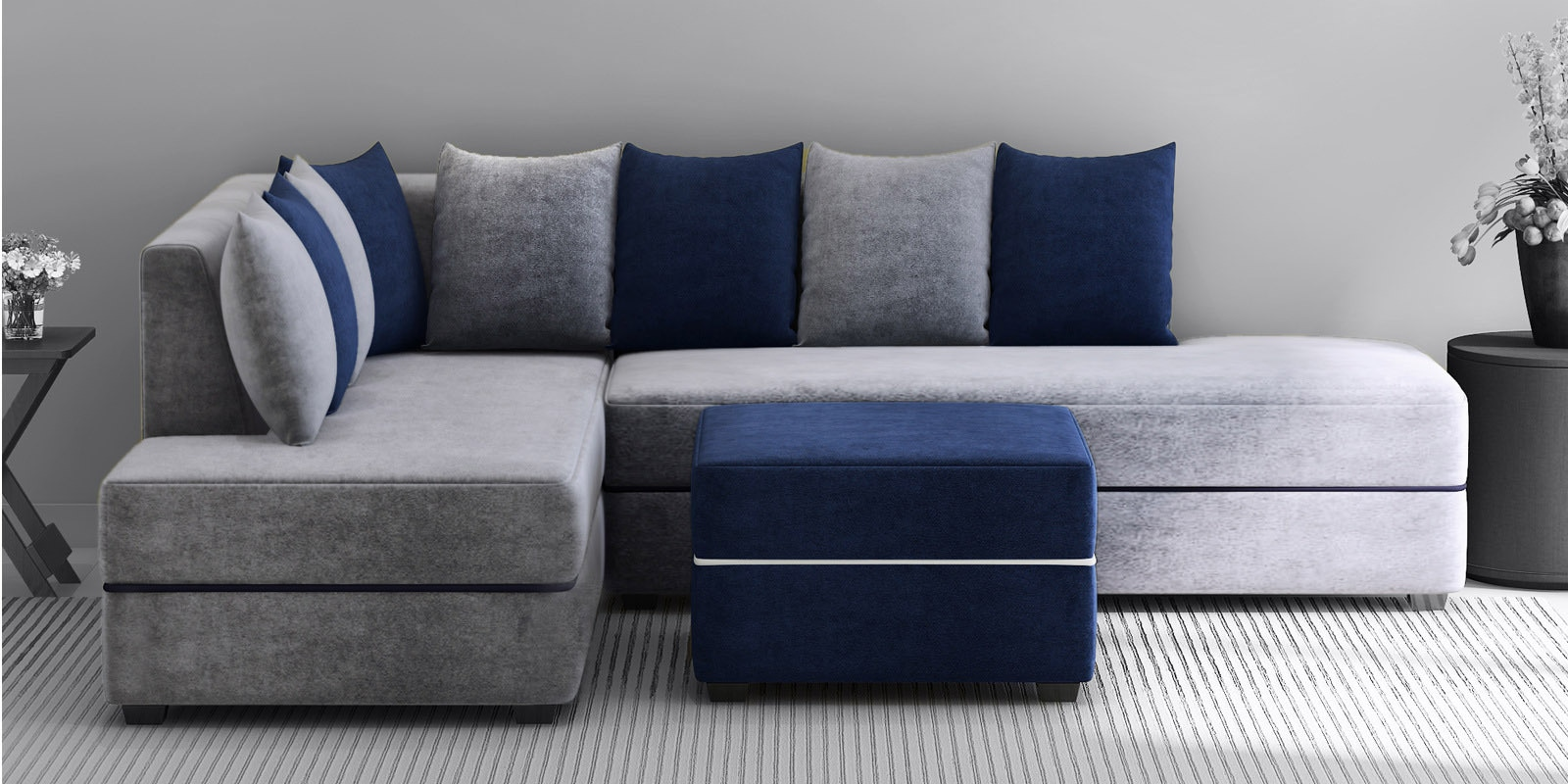 Buy Apollo Rhs Sectional Sofa With Ottoman In Grey Blue Colour By Evok Online Modern Rhs Sectional Sofas Sectional Sofas Furniture Pepperfry Product