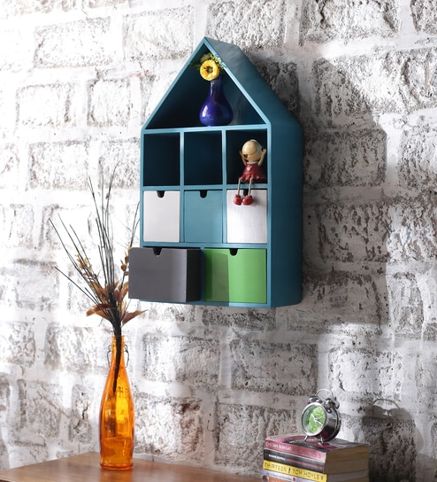 Solid Wood Hand Made Multi Purpose Wall Shelf In Multicolour By Appu Art