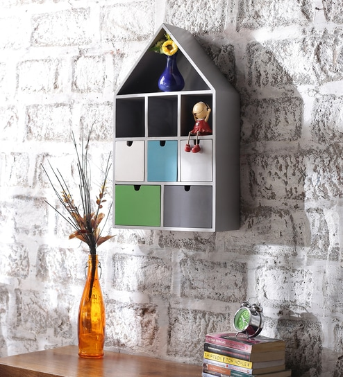 Ramon Contemporary Wall Shelf In Multicolour By Appu Art