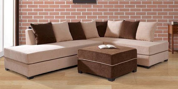 Apollo LHS Sectional Sofa With Pouffe In Light Brown Colour By Evok