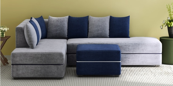 Apollo Rhs Sofa With Ottoman In Grey Blue Colour By Evok