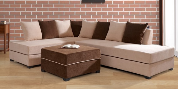 Strange Apollo Rhs Sectional Sofa With Pouffe In Light Brown Colour By Evok Gmtry Best Dining Table And Chair Ideas Images Gmtryco