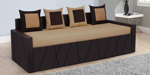 Apollo Sofa Cum Bed With 4 Cushions In Brown Colour By Auspicious Home