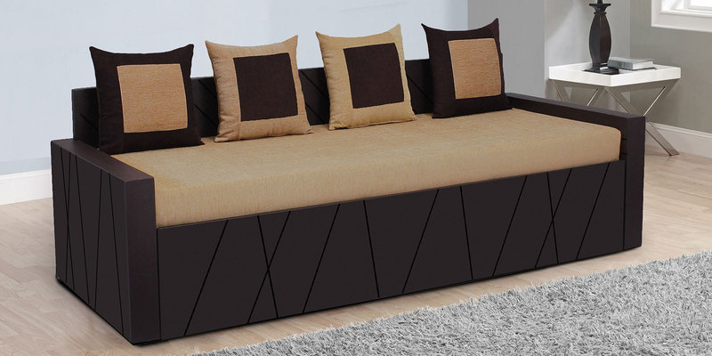 Buy Apollo Sofa Cum Bed With 4 Cushions In Brown Colour By