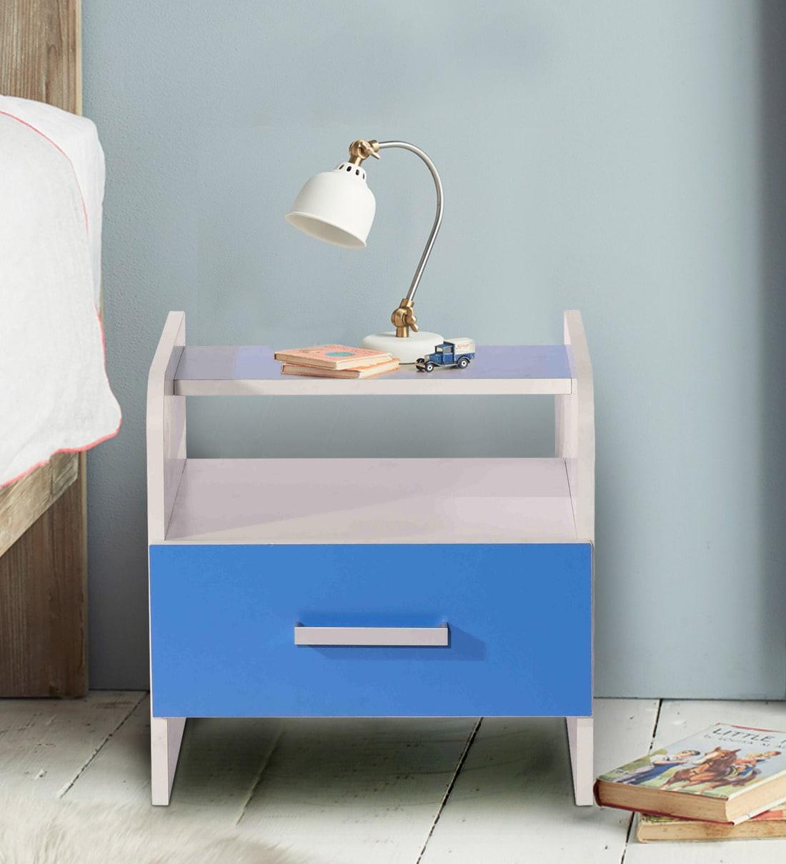 Buy Aqua Splash Bedside Table In White Blue Finish Mintwud By Pepperfry Online Kids Bedside Tables Kids Furniture Kids Furniture Pepperfry Product