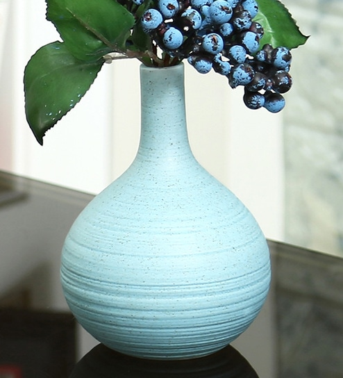Pepperfry & Aqua Ceramic Traditional Design Flower Vase By Aapno Rajasthan