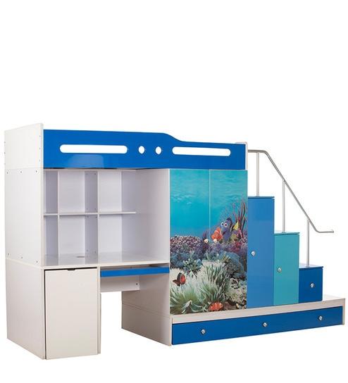 Buy Aqua Space Saver Bunk Bed Cum Wardrobe Storage Cum Study Table