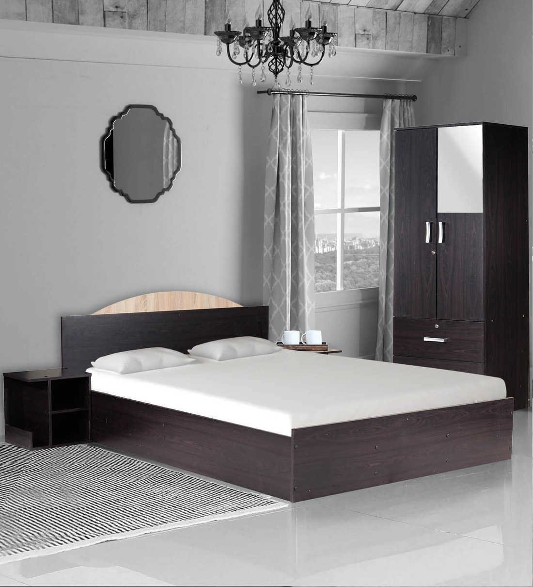 Buy Arisa Bedroom Set Queen Size Bed With Storage 2 Door Wardrobe Two Bedside Table In Wenge Finish By Mintwud Online Modern Queen Size Beds Beds Furniture Pepperfry Product