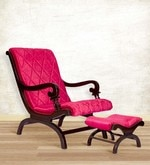 Arm Chair with Foot Stool in Pink Upholstery & Brown Polish By Karigar