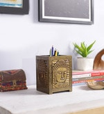 Gold Solid Wood Pen Stand