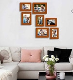 Brown Fibre Wood Painting Mantra Victory Individual Wall Photo Frame - Set of 7